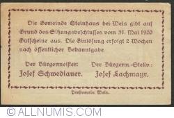Imaginea #2 a 20 Heller 1920 - Steinhaus bei Wels