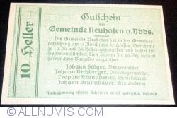 Imaginea #2 a 10 Heller 1920 - Neuhofen an der Ybbs