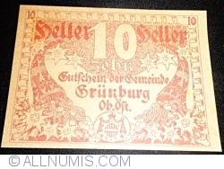 Imaginea #1 a 10 Heller 1920 - Grünburg (Prima emisune - 1. Auflage)