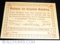 Imaginea #2 a 10 Heller 1920 - Grünburg (Prima emisune - 1. Auflage)