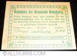 Imaginea #2 a 20 Heller 1920 - Grünburg (Prima emisune - 1. Auflage)