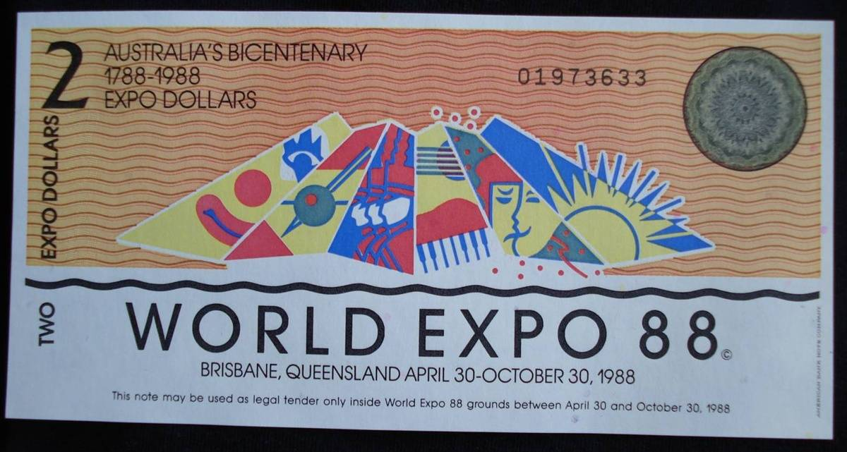 Australia World Expo 2 /& 5 Dollars 1988 Brisbane UNC Bicentenary Banknote Set