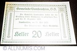 Imaginea #2 a 20 Heller 1920 - Lambrechten
