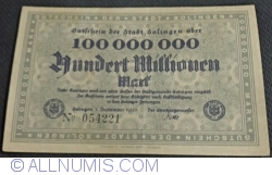 Image #1 of 100 000 000 (100 Millionen) Mark 1923 - Solingen