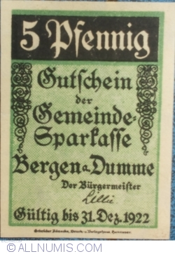Image #1 of 5 Pfennig ND - Bergen an der Dumme