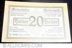 20 Heller 1920 - Hohenzell