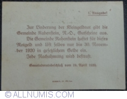 Imaginea #2 a 20 Heller 1920 - Rabenstein (Prima emisiune - 1. Ausgabe)