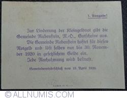 Imaginea #2 a 50 Heller 1920 - Rabenstein (Prima emisiune - 1. Ausgabe)