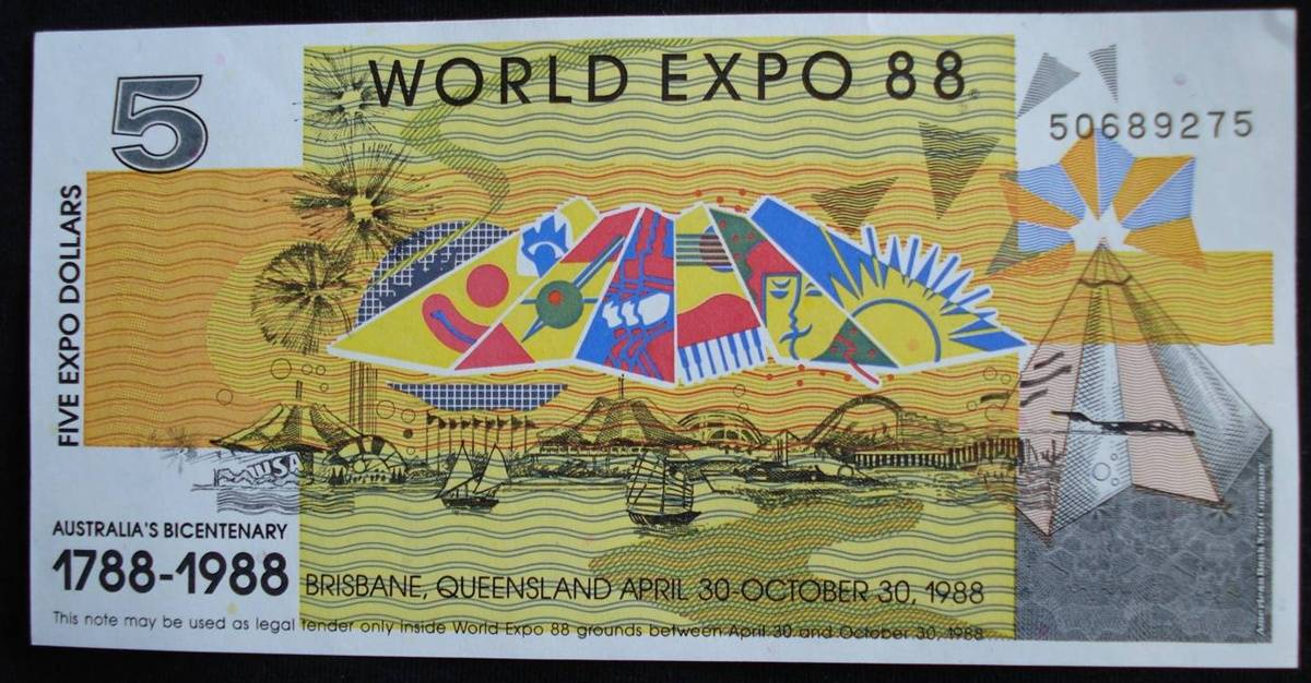5 Expo Dollars 1988 World Expo 88 Brisbane Australia