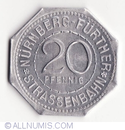Image #1 of 20 Pfennig ND(1921) (Hieronimus Holzschuer) - Nürnberg Strassenbahn
