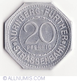 20 Pfennig ND(1921) (Karlsbrucke) - Nürnberg Strassenbahn