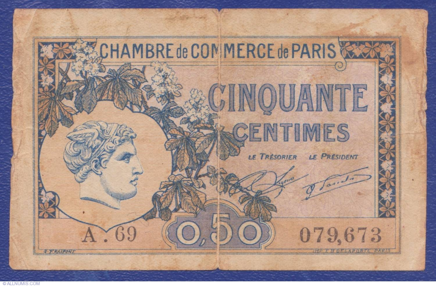 50 centimes 1920 paris chambre de commerce france for Chambre de commerce de rawdon
