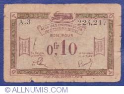 Imaginea #1 a 0.10 Franci 1923 (ND) - Régie des Chemins de Fer des Territoires occupés