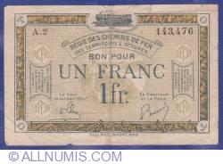 Imaginea #1 a 1 Franc 1923 (ND) - Régie des Chemins de Fer des Territoires occupés