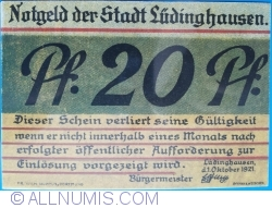 Image #2 of 20 Pfennig 1921 - Ludinghausen