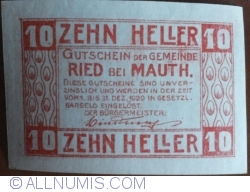 10 Heller 1920 - Ried bei Mauth.