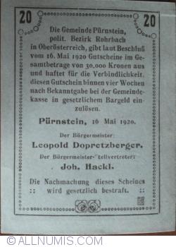 Imaginea #2 a 20 Heller 1920 - Pürnstein