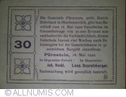 Imaginea #2 a 30 heller 1920 - Pürnstein