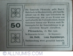 Imaginea #2 a 50 Heller 1920 - Pürnstein