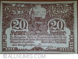 Imaginea #1 a 20 Heller 1920 - Ried im Traunkreis