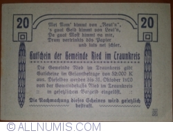 Imaginea #2 a 20 Heller 1920 - Ried im Traunkreis