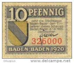 Image #1 of 10 Pfennig 1920 - Baden-Baden